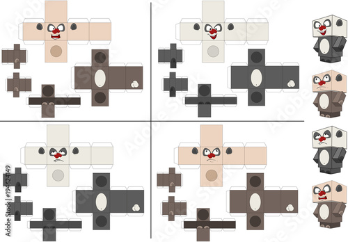 Foto op Aluminium Babykamer Set of Panda Cubes. Toy for assemblage