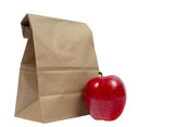 Lunch Sack Folded Over With Red Apple - 194637107
