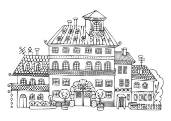 Rural palace in cartoon style. Hand drawn picture. Sketch for anti-stress adult coloring book in zen-tangle style. Vector illustration for coloring page