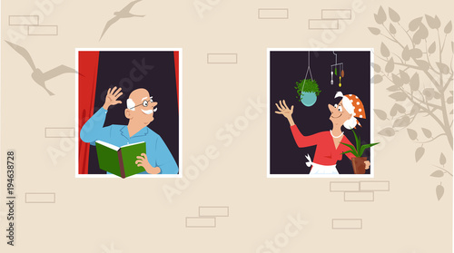 Papiers peints Echelle de hauteur Senior woman taking care of her plants and greeting her neighbor who is reading a book at the window, EPS 8 vector illustration