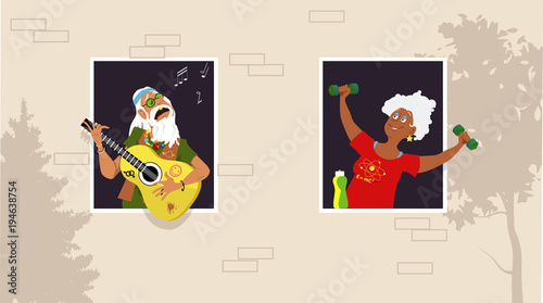 Papiers peints Echelle de hauteur Mature woman working out at the window, listening her old hippy neighbor playing guitar and singing, EPS 8 vector illustration