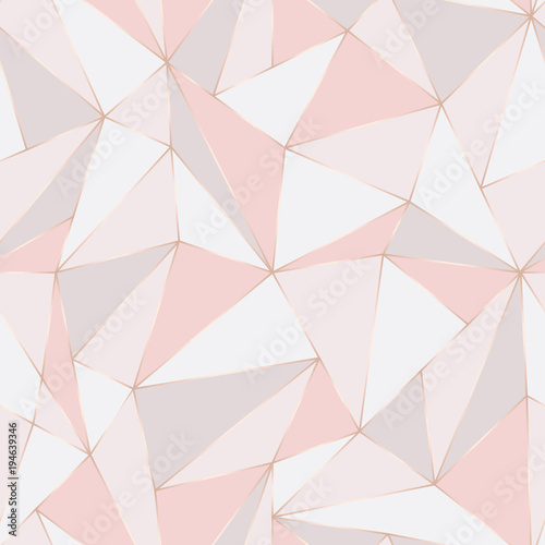 Cotton fabric Geometric seamless pattern. Abstract Polygonal background. Triangle vector Pastel backdrop.