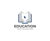 Fototapety Online education logo template. Distance learning vector design. Computer monitor and open book illustration