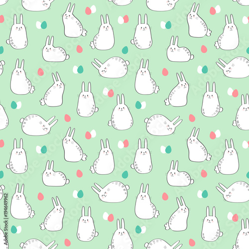 Materiał do szycia Vector seamless pattern with cute bunnies and easter eggs. Easter Day background.