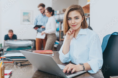Young woman reading email