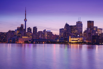 Toronto's night skyline, one of the best views from Cherry Street, Toronto, Ontario, Canada.
