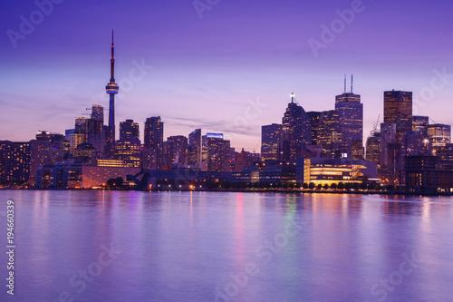 Toronto's night skyline, one of the best views from Cherry Street, Toronto, Ontario, Canada.