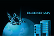 blue shading design of blockchain concept with earth palnet and data servers over black background, vector illustration