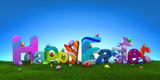 Happy Easter text with colorful eggs on green grass with blue sky - 3d render - 194663903