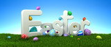 Easter text with colorful eggs on green grass with blue sky - 3d render - 194663904