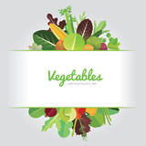 Vegetables background design with calligraphy. Vector illustration of organic food and healthy. - 194670705