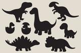 Vector illustration of dinosaur silhouette including Stegosaurus, Brontosaurus, Velociraptor, Triceratops, Tyrannosaurus rex, and Spinosaurus.
