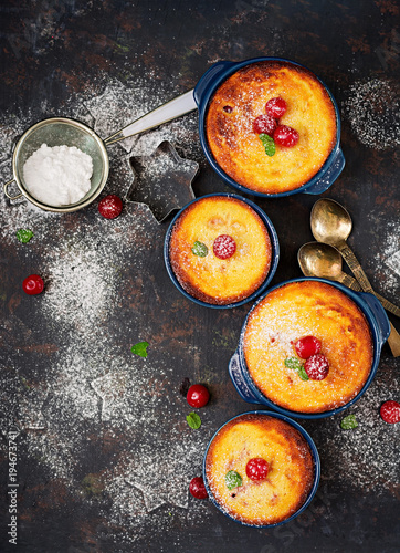 Fotobehang Kersen Cottage cheese casserole with cherries. Flat lay. Top view.
