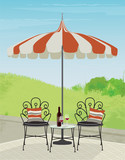 Relaxing garden patio with cute metal chairs and glass top side table. Relax with a glass of wine in a beautiful landscape. Flat style vector with some painterly detail and depth.  - 194678972
