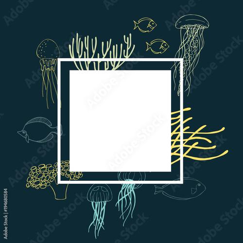 Underwater world. Jellyfish, fish and corals. Vector frame