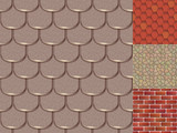 Roof Tiles Of Classic Texture And Detail House Seamless Pattern Material  Illustration Wall Sticker