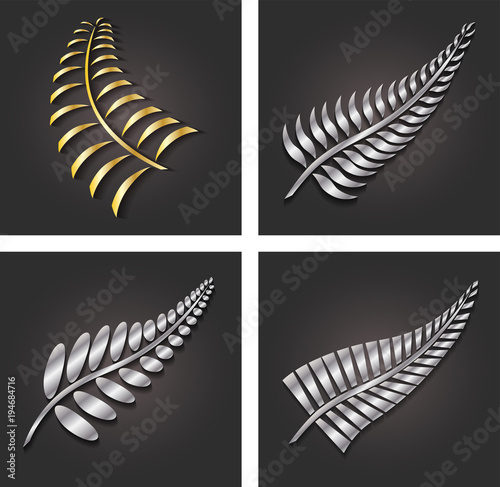 Nowa Zelandia Silver Fern Leaf i Gold Logo Design