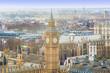 Big Ben in London City. Aerial view