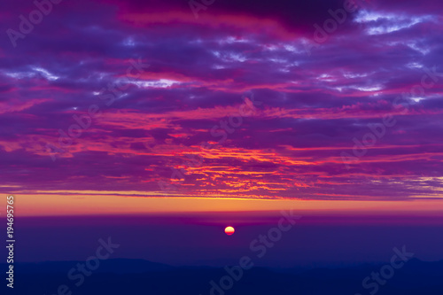 Foto op Canvas Violet beautiful sunset landscape seen from mountain of Romania, Ceahlau