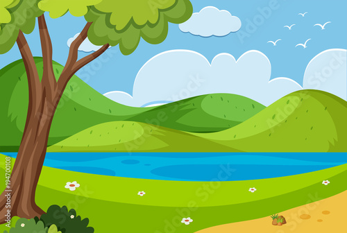 Foto op Canvas Pool Background scene with river in the park