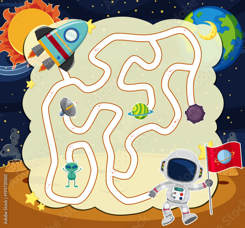 Fototapeta Puzzle game template with astronaut in space