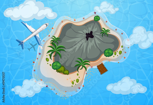 Fotobehang Blauw Aerial view of airplane flying over island