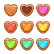 Cartoon wooden hearts set.