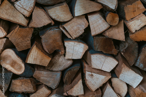 Keuken foto achterwand Brandhout textuur Pile of chopped wood for the winter season
