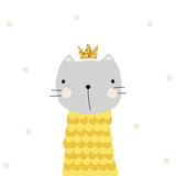 Funny cat princess with golden glitter crown. Vector hand drawn illustration. - 194705768