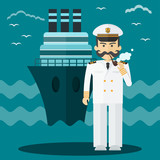 Captain of ship in white suit. Command of military cruiser, a cruise liner. Flat vector cartoon illustration. Objects isolated on a white background. - 194706121