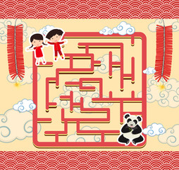 Puzzle game template with chinese kids and panda