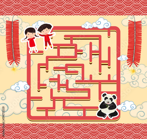 Fototapeta Puzzle game template with chinese kids and panda