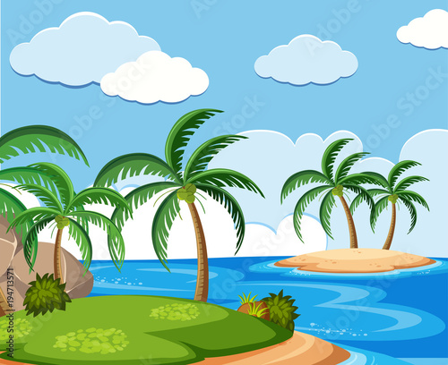In de dag Pool Background scene with coconut trees on island