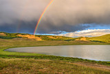 mountains lake rainbow clouds summer - 194715775
