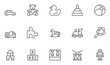 Set of Toys Vector Thin Line, Flat Design Icons with Cloud, Sun, Rain and more. Editable Stroke. 48x48 Pixel Perfect. - 194718946
