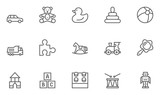 Fototapeta Konie - Set of Toys Vector Thin Line, Flat Design Icons with Cloud, Sun, Rain and more. Editable Stroke. 48x48 Pixel Perfect. © kuroksta