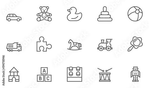 Set of Toys Vector Thin Line, Flat Design Icons with Cloud, Sun, Rain and more. Editable Stroke. 48x48 Pixel Perfect.