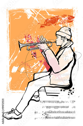 Trumpet player on grunge background