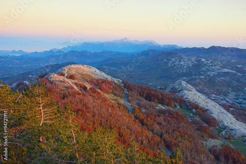 Tuinposter Diepbruine Evening mountain landscape. Montenegro, view of Lovcen National Park