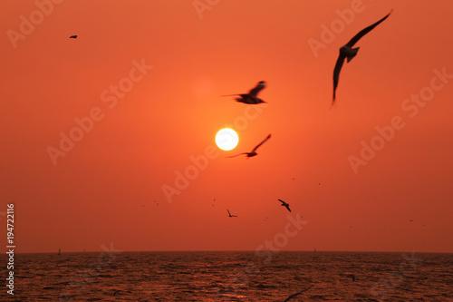 Deurstickers Baksteen Sunset