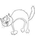 cute cartoon cat scaring  drawing