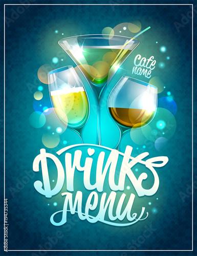 Fototapeta Drinks menu design with cocktails