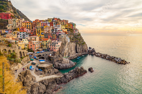 Poster Cappuccino View of Manarola. Manarola is a small town in the province of La Spezia, Liguria, Italy