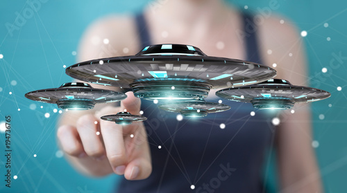 Foto op Canvas UFO Businesswoman with retro UFO spaceship 3D rendering