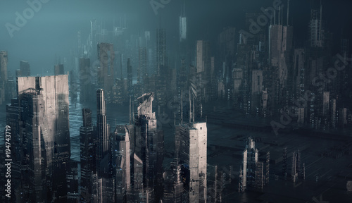 Poster futuristic cityscape