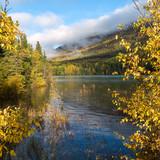 Fall colors at water edge - 194746544