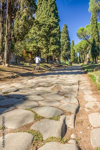Tuinposter Rome View down the ancient Via Appia Antica in Rome, Italy