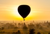 Balloon at sunrise over Old Bagan Temples in Myanmar. Version 2.