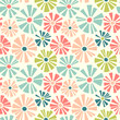 Spring theme seamless pattern of cut out style daisies. Cheerful retro design for fabric, wallpaper, backgrounds and decor. - 194753904