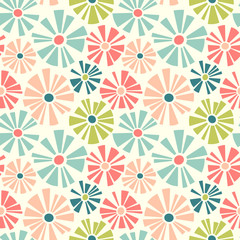 Spring theme seamless pattern of cut out style daisies. Cheerful retro design for fabric, wallpaper, backgrounds and decor. © TeddyandMia